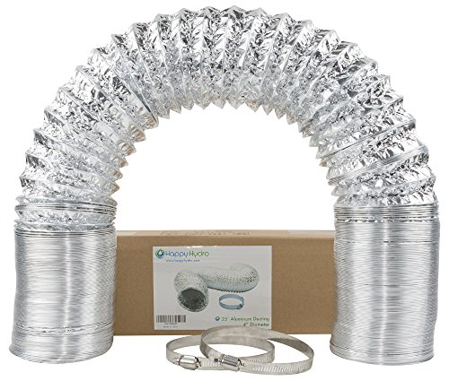 "4"" x 25' HVAC Flex Duct Non-Insulated Venting Hose with 2 Worm Gear Clamps for Grow Room and Greenhouse"
