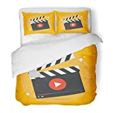 SanChic Duvet Cover Set Clapper Film Production Movie in Flat Style From the Video Design Cinema Decorative Bedding Set with 2 Pillow Shams Full/Queen Size