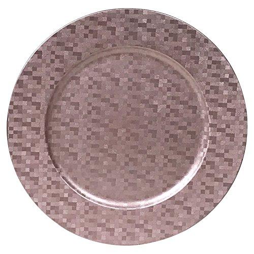 Charger Plates Shimmering Metallic Squares Design, Set of 4 (Rose)