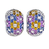 Pasquale Bruni 18K White Gold 2 1/4 cttw White Diamond and Multicoloured Sapphire Floral Earrings