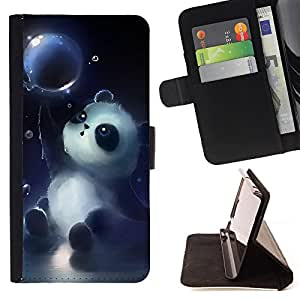 Dragon Case- Mappen-Kasten-Prima caja de la PU billetera de cuero con ranuras para tarjetas, efectivo Compartimiento desmontable y correa para la mu?eca FOR HTC One M7- Panda Cute Face