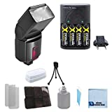 Pro Series 500EX Digital DSLR Dedicated Flash AF Flash for Canon, DSLR Camera & More . . . + Charger with 4 Rechargeable Batteries + a Complete Starter Kit