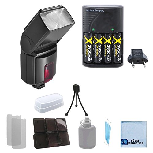 Pro Series 500EX Digital DSLR Dedicated Flash AF Flash for Canon, DSLR Camera & More . . . + Charger with 4 Rechargeable Batteries + a Complete Starter Kit by eCost