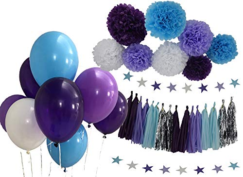 Mermaid Party Supplies Frozen Theme Decorations Purple Blue White Lavender Pom Poms Tassels Star Garlands Balloons Baby Shower 1st Birthday Decorations Mermaid Under The Sea Party Theme 36pc. Set ()