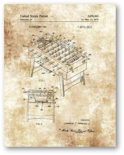 (Foosball Game Table Drawing - 11 x 14 Unframed Patent Print - Great Decor for The Playroom, Gameroom and Mancave - Makes a Wonderful Gift for Game Enthusiasts, Soccer Players and Collectors)