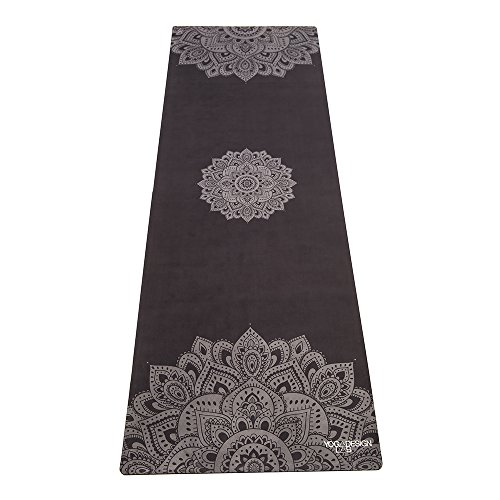 YOGA DESIGN LAB The Combo Yoga MAT Eco Luxury Mat/Towel That Grips The More You Sweat | Designed in Bali | Ideal for Hot Yoga, Bikram, Sweaty Practice | w/Strap! (Mandala Black, 70 x 24) (Best Hot Yoga Mat Review)
