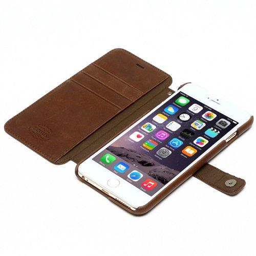ZENUS Prestige Vintage Diary Type Italian Leather Case for iPhone 6 Plus (Dark brown)