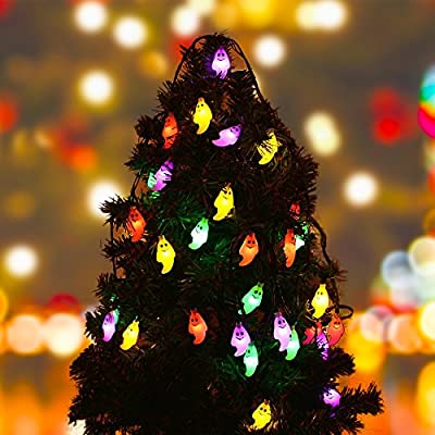 Ghost String Lights Simmper 19.7ft 30 LEDs Solar Powered Outdoor Halloween Christmas Decorations Lights with Steady Flash 8 Lightning Modes Waterproof for Party Patio Home Garden Decor (Multi-Color)