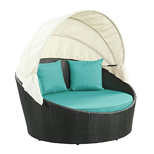Lexington Daybed - Modway Siesta Outdoor Wicker Patio Espresso Canopy Bed with Turquoise Cushions