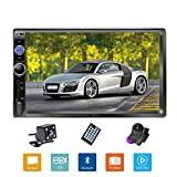 Podofo Double Din Car Stereo/Audio/Radio, 7'' Touchscreen Digital LCD Monitor, MP3/USB/SD AM/FM, Bluetooth, Wireless Remote Control, Rear View Camera, Steering Wheel Control