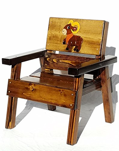 Kids Wooden Chair - Whimsical Aries the Ram - Engraved and Painted - Indoor / Outdoor