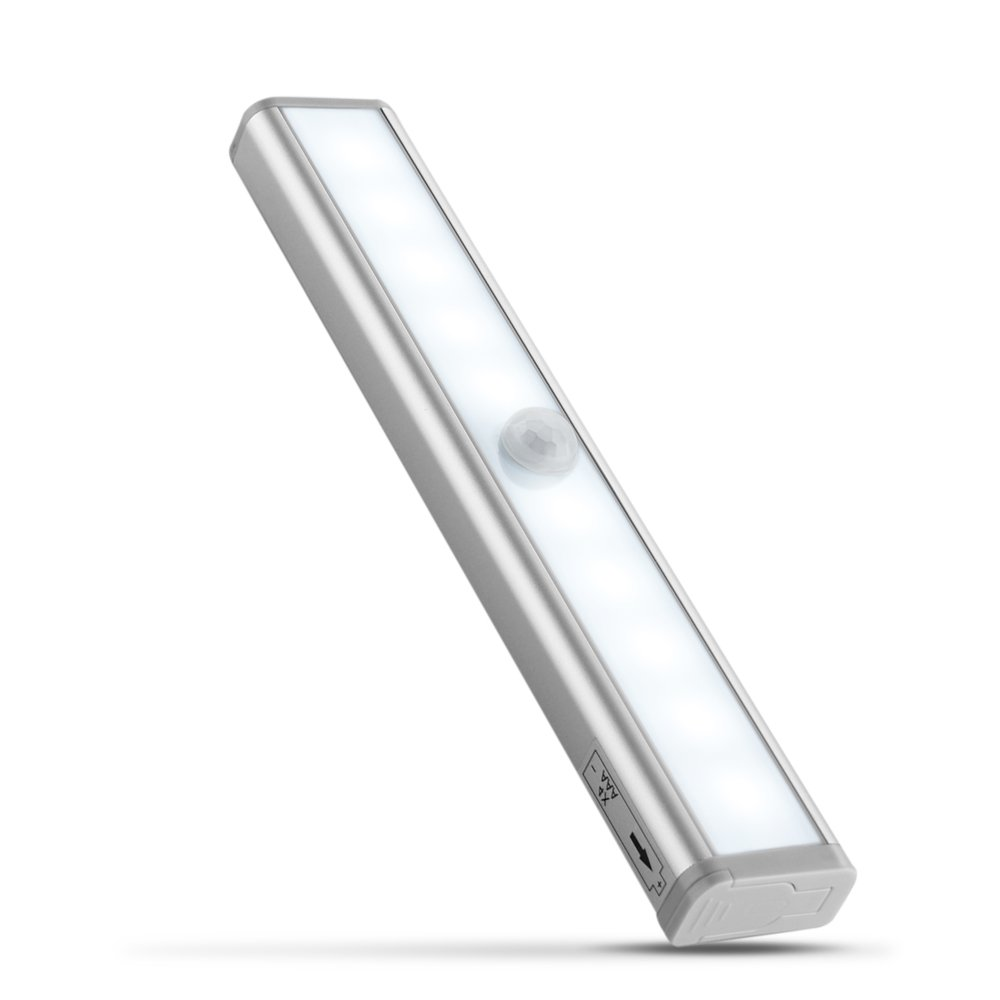Flexzion Under Cabinet Lighting Motion Sensor Detector Activated LED Light For Cabinet Closet Storage, Sliding Closet Door, Under Counter Shelf Drawer, Stick on Anywhere Cordless Battery Operated