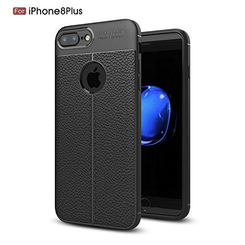 iPhone 7 Plus Case, iPhone 8 Plus Case, Tough and Flexible TPU Leather Auto Focus Skin Back Cover Premium Protective Case for Apple iphone 7 / 8 Black (Black)