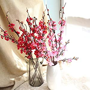 Makaor Artificial Fake Flowers Plum Blossom Floral Wedding Bouquet Home Decor 1 Bouquet Cherry Blossoms 5