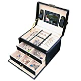 BEITEPACK Jewelry Organizer Box, Two Drawers Girls Varies Jewel Storage/Display Mirrored Travel Case, Black Leather
