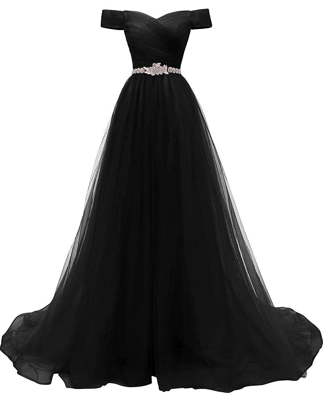 Black VKBRIDAL Women's Off Shoulder A Line Prom Dresses Long Beaded Princess Ball Gowns