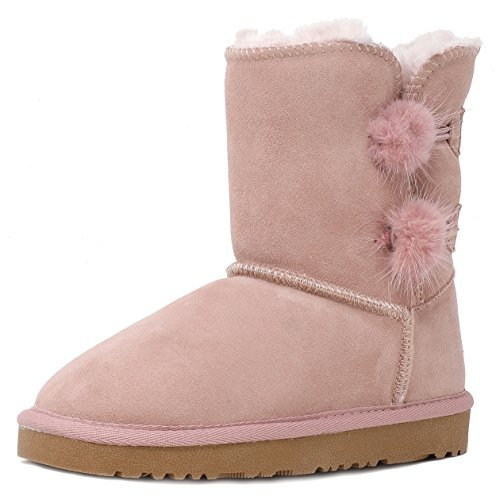 DREAM PAIRS Little Kid Shorty-Pompom Pink Sheepskin Fur Winter Snow Boots Size 11 M US Little ()