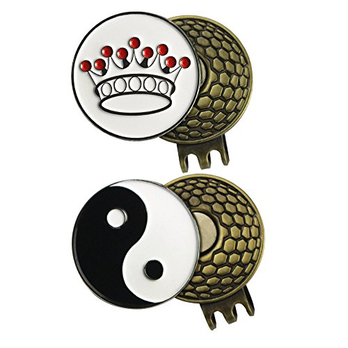 2 Sets of Golf Ball Marker with Magnetic Golf Hat Clip (CROWN and YIN YANG) Yin Yang Bag