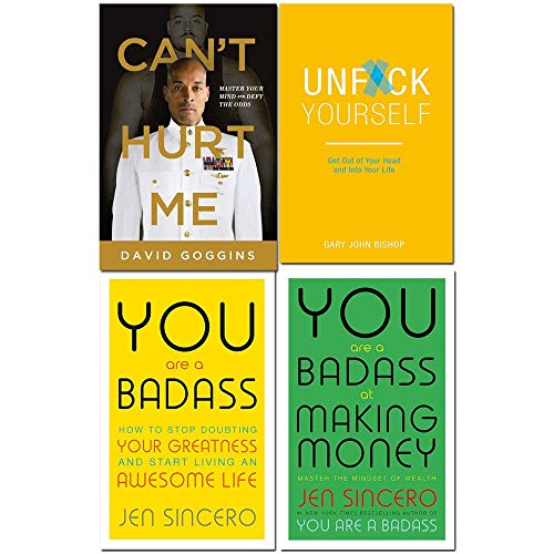Book cover from Cant hurt me, unfck yourself, you are a badass, you are a badass at making money 4 books collection set by David Goggins