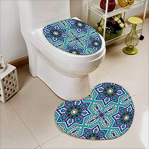 L-QN U-Shaped Toilet Mat-Soft Arabesque Pattern Traditional Islamic Art Geometric Decorative Persian Damask Art Cobal 2 Piece Toilet Toilet mat by L-QN