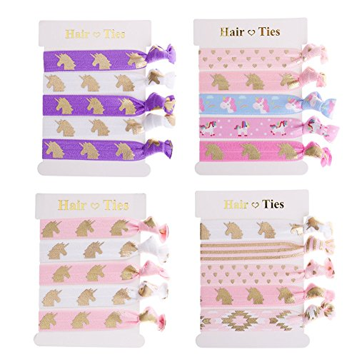 20 Pieces Unicorn Hair Ties Party Favors Girls Elastic Ponytail Holders Decorations Birthday Gifts Supplies
