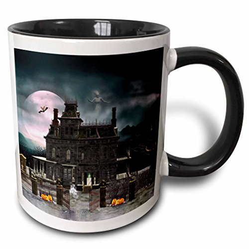 3dRose 181746_4 A A Halloween Haunted House In The Night With Ghosts And Creatures Two Tone Mug, 11 oz, Black