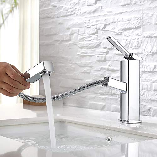 KAIYING Bathroom Sink Faucet with Pull Out Sprayer, Single Handle Kitchen Basin Mixer Tap for Hot and Cold Water, Lavatory Pull Down Vessel Sink Faucet with Rotating Spout,Brass (Regular, Chrome)