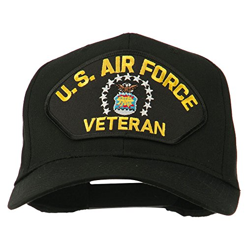 e4Hats.com US Air Force Veteran Military Patch Cap - Black OSFM