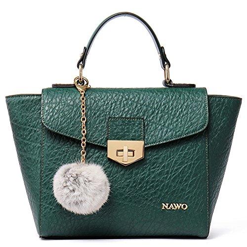 NAWO Leather Designer Handbags Shoulder Tote Top-handle Bag Clutch Purse for Women Green (Discount Designer Bags)