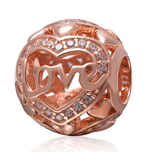Rose Gold Love Charm 925 Sterling Silver Charm Letter Beads Heart Charm Circle Charm Marriage Anniversary Christmas Friendship Birthday Charm For Girls Boys Women Bracelets or Necklaces ()
