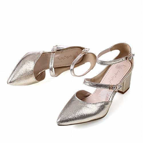 Dancing Mid Gold Chic Carolbar Heel Dress Shiny Sandals Buckles Party Womens Chunky Pointed Toe BInnOvS
