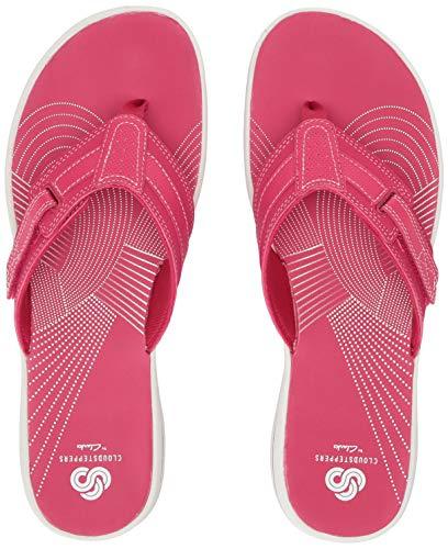 CLARKS Women's Brinkley Reef Flip-Flop, Bright Rose Synthetic, 080 M US