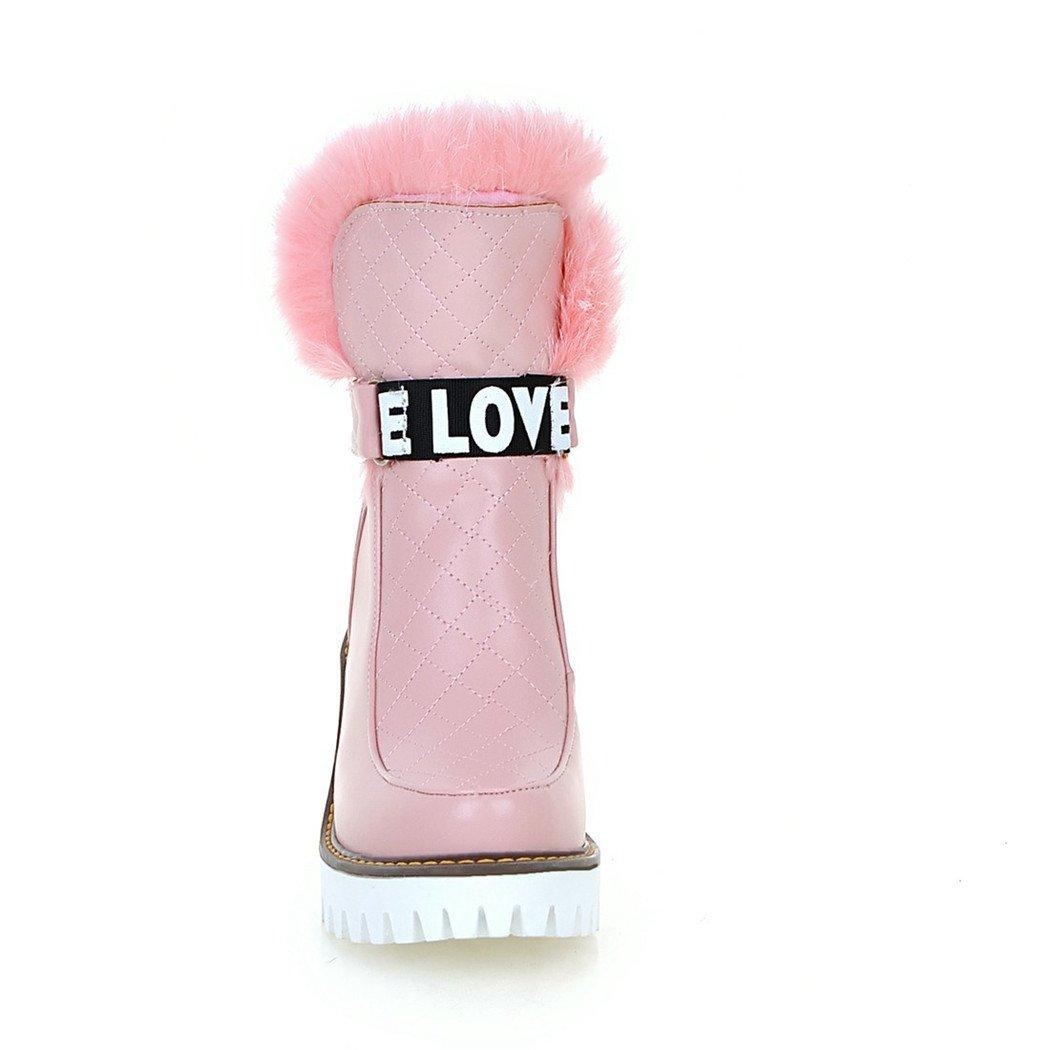 ZQ@QX Herbst und Winter runden dick Kopf wasserdicht Taiwan dick runden mit hochhackigen Schuhe stilvolle und vielseitige, kurze Stiefel weibliche Stiefel  Pink 175f48