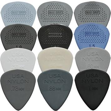 12 Dunlop Max con agarre y nailon Púas para guitarra de ...