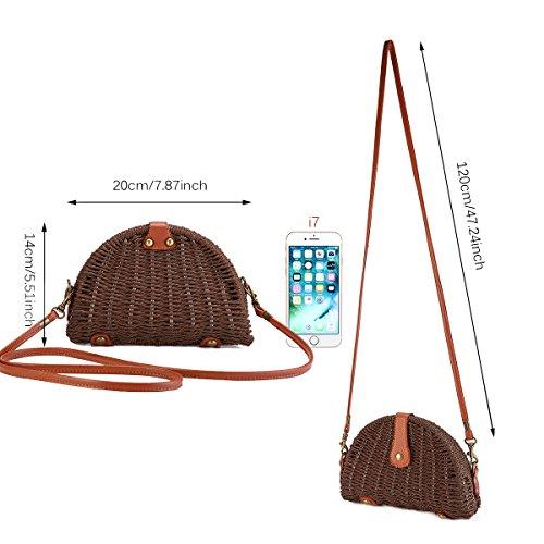 Shoulder Crossbody for Straw Dark JOSEKO Green Bag and Use Bag Travel Handbag Everyday Womens Beach Brown Straw YwdAdq