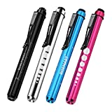 RISEMART Medical Pen Lights with Pupil Gauge for Nurses Doctors Reusable Nursing Teal LED Penlight, Batteries Included (Pack of 4)