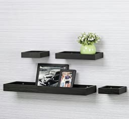 O&K Furniture Multilength Floating Shelves Ledge Shelf Black Oak (22\