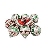 Northlight 9ct Shiny Silver Vintage Striped Glass Ball Christmas Ornaments 2.75''