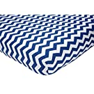 "Little Love by NoJo Separates Collection Printed Chevron Crib Sheet, Navy/White, 52"" x 28"""