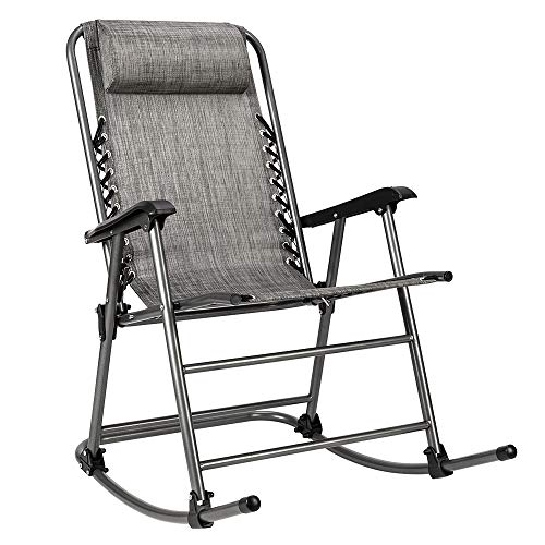 Knocbel Zero Gravity Outdoor Lounge Folding Rocking Chair for Patio Lawn Pool Porch Deck (Gray)