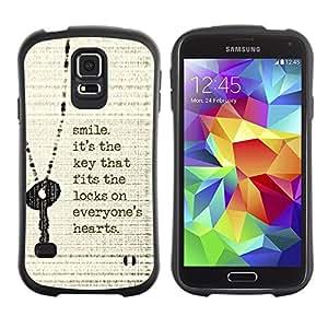 """Pulsar iFace Series Tpu silicona Carcasa Funda Case para Samsung Galaxy S5 , Sonrisa Cita clave Corazón inspiradora motivación"""""""