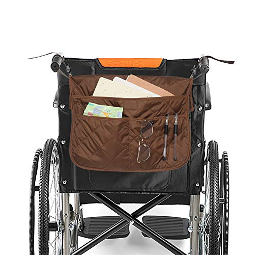 MDSTOP Wheelchair Bag Organizer, Wheel Chair Storage Tote for Loose & Travel Items, Lightweight Rollator Walker Bag for Men, Women, Handicap, Elderly, Accessible Pouch and Pockets (Coffee, 16.5