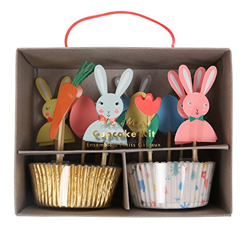 Meri Meri 45-2570 Easter Cupcake Kit, Set of 24 Cupcake Cases with 24 Easter Toppers