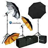 LimoStudio Umbrella Reflector Video Studio Continuous Lighting Kit, Silver and Gold Umbrella, Photo Bulb and Socket with Umbrella Insert Hole, Light Stand Tripod, Carry Bag, Photograph Studio, AGG2106