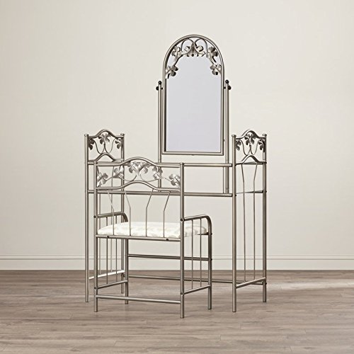 Vanity Set with Mirror Soft Neutral Fabric Padded Seat Casual Style Leafy Motif is Featured Through Out Lower Glass Shelf Offers Additional Space to Stash a Magazine or Make Up by eCom Fortune
