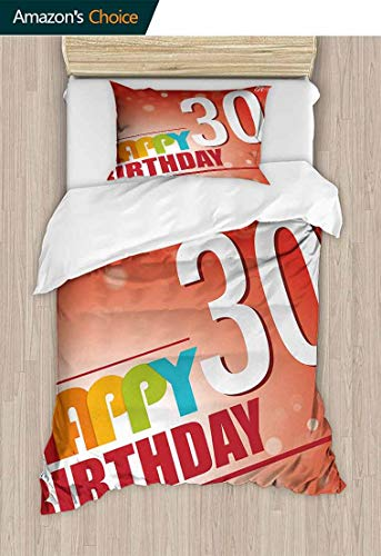 Temox 30th Birthday European Style Print Bed Set, Invitation to The Birthday Party in Colorful Retro Style Poster Image Print, Bedding Sets,1 Duvet Cover,1 Pillowcase,63 W x 82 L Inches, Multicolor
