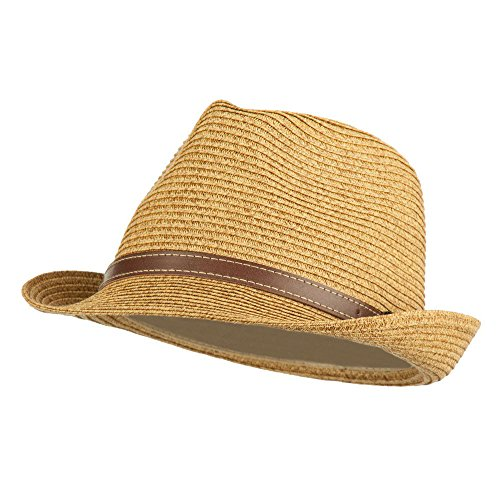 UPF 50+ Tweed Braid Paper Fedora - Tan OSFM