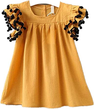 Newmao Toddler Girls Fly Sleeve Stripe Heart Printed Dress Summer Princess Dresses
