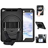iPad Mini 5 Case,ipad Mini 4 case with Screen Protector, Three Layer Protective case with Stand, Hand & Shoulder Strap for Apple iPad Mini 5 7.9 Inch 2019 for Kids Black