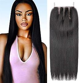 AMELI 4×4 Lace Closure Straight 3 Part Closure Brazilian Human Hair Closure Double Lace 100% Unprocessed Virgin Human Hair Natural Color 8 Inch (8″, Natural Color)